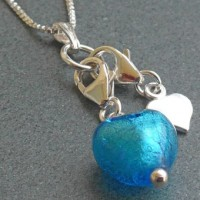 Turquoise 'heart' charm in turquoise from Firefrost Designs