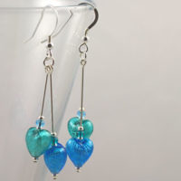 Murano glass earrings - Heart Duo in Turquoise and Marino
