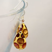 Murano glass earring in shades of Autumn