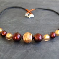topaz and gold murano glass necklace