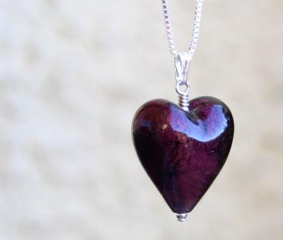 Bella murano glass heart pendant amethyst murano glass heart pendant mozeypictures Image collections