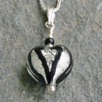 Murano Glass Heart Pendant - Black and Crystal