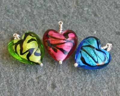 Caramella heart pendant in green from Firefrost Designs