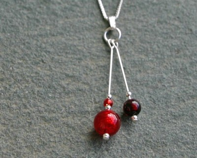 Carina duo pendant in red from Firefrost Designs
