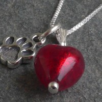 Love My Dog Charm Pendant in Red Murano Glass Firefrost Designs