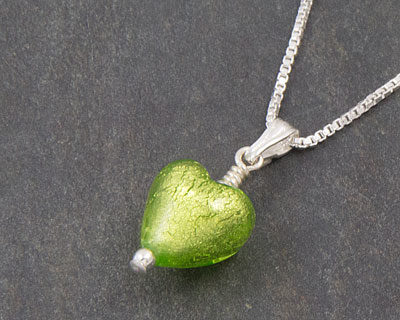 Murano glass heart pendant Green - Bellina