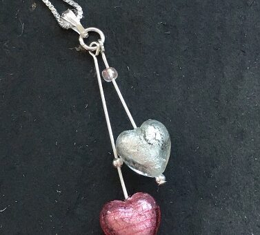 Heart Duo Pendant Pink & Crystal Murano Glass Jewellery Firefrost Designs