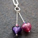Heart duo pendant in purple and pink from Firefrost Designs