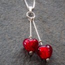 Heart duo pendant in red from Firefrost Designs