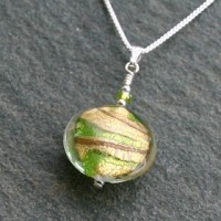 Juiletta pendant in green and gold from Firefrost Designs