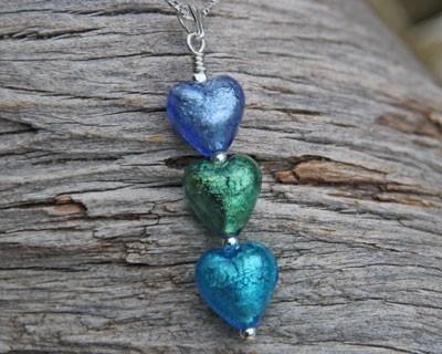 'Lakeland waters' triple heart pendants from Firefrost Designs