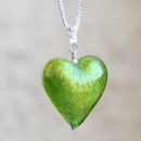 Murano glass heart pendant lime green