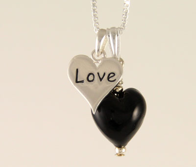 Love charm heart pendant Murano glass black