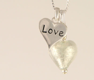 Love charm heart pendant Murano glass crystal