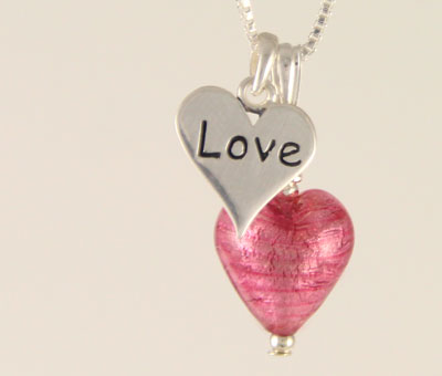 Love Charm heart pendant Murano glass pink