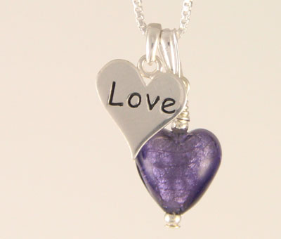 Love charm heart pendant Murano glass purple