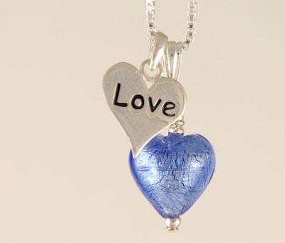 Love charm heart pendant Murano glass Sapphire