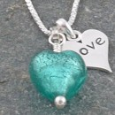 Murano glass and 'love' charm pendant in marino from Firefrost Designs