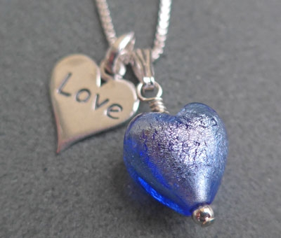 Murano glass and 'love' charm pendant from Firefrost Designs