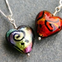 Miro murano glass heart pendant from Firefrost Designs