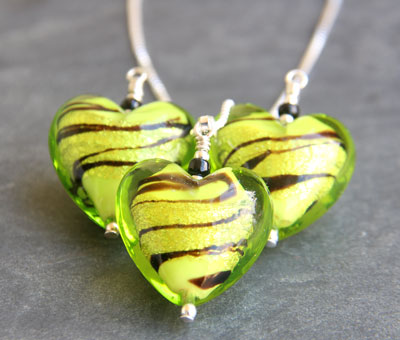 Caramella Murano glass heart pendant Green