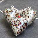 Murano glass heart pendants Pestaccio crystal