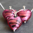 Pink and Black Caramella Murano glass heart pendant