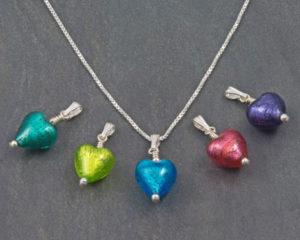 Murano glass heart pendant Bellina by Firefrost