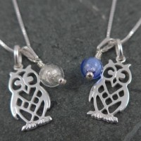 'Owl and moon' pendant in blue or crystal from Firefrost Designs