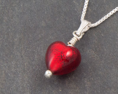 Murano glass heart pendant - Bellina
