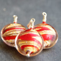 Red and Gold Murano glass pendant