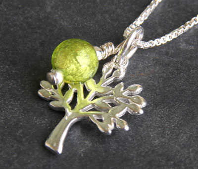 Tree of Life pendant with Lime Green Murano glass charm