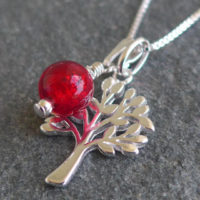 Tree of Life pendant with Red Murano glass charm