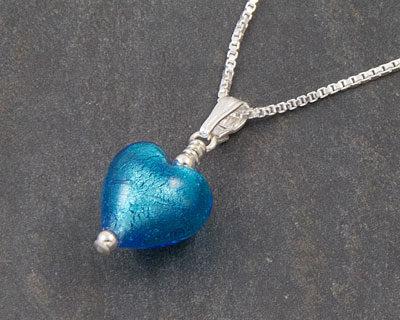 Murano glass heart pendant Turquoise Bellina