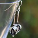 Murano glass Black and Crystal earrings