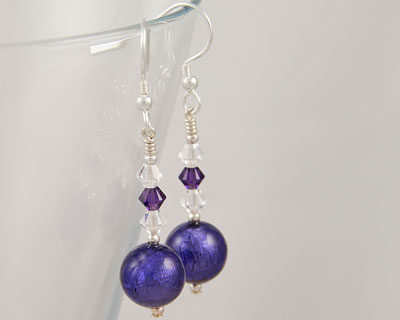 Purple Murano glass earrings with Swarovski crystals on Sterling Silver fittings