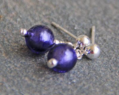 Murano glass earrings Purple