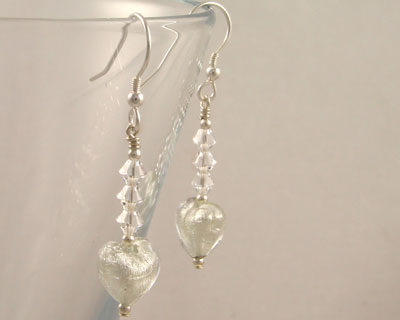 Crystal Murano glass heart earrings