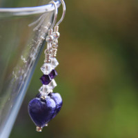 Murano glass heart earrings