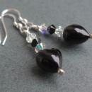 Glass heart earrings with Swarovski - Black from Firefrost Designs