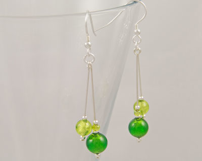 Green Murano earrings in a double drop