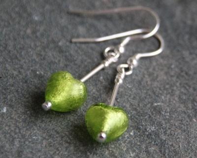 Small heart earrings in green from Firefrost Designs