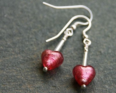 Small heart drop earrings in pink from Firefrost Designs