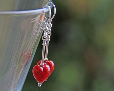 Red Heart Drop Earrings