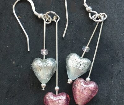 Heart Duo Earrings Pink & Crystal Murano Glass Jewellery firefrost Designs