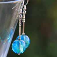 Firefrost Murano glass earrings - Hidden Depths