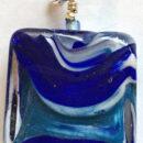 Aurora Square Blue Pendant Firefrost Designs Murano Glass Handmade Jewellery