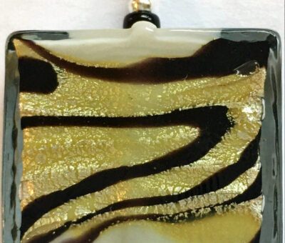 Aurora Gold & Black Square Pendant Firefrost Designs Murano Glass Jewellery