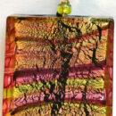 Aurora Pink Square Pendant Firefrost Designs Murano Glass Jewellery