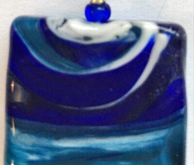 Aurora Blue Square Pendant Firefrost Designs Murano Glass Jewellery